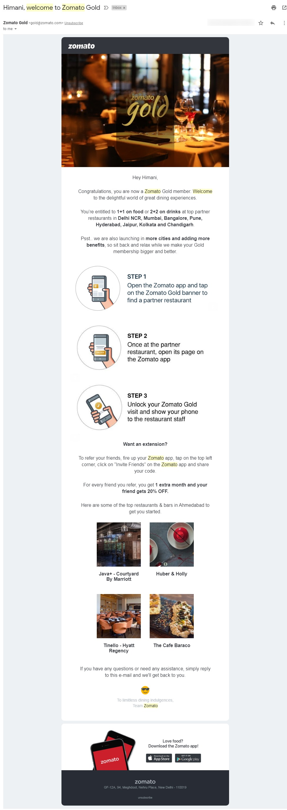 Welcome Email Example by Zomato - an eCommerce brand