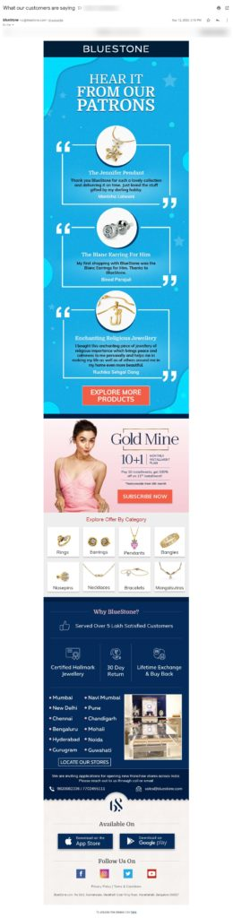 Types of email for eCommerce - brand assurance email example by Bluestone